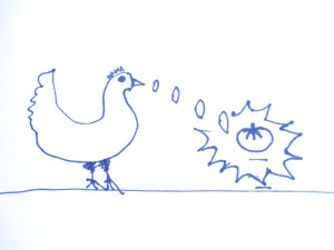 drawing of chicken lifting a tomato with superpowers