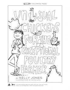 coloring page of the cover of Unusual Chickens for the Exceptional Poultry Farmer